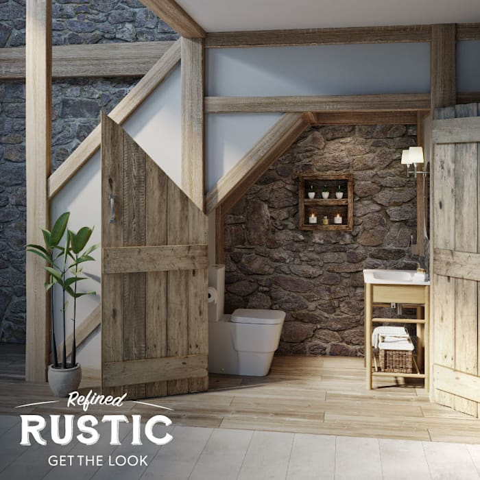 rustic small space cloakroom:  Bathroom by Victoria Plum, Rustic