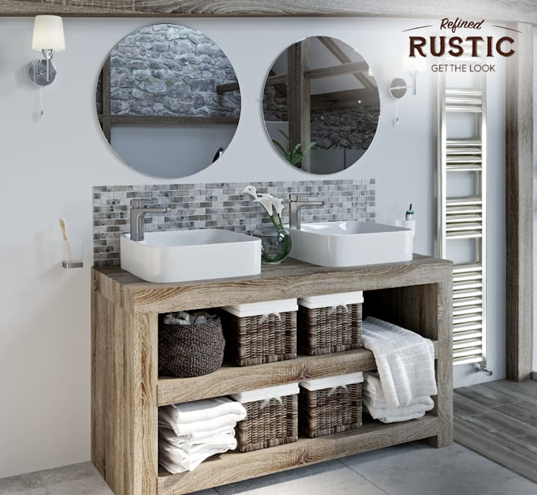 rustic small space twin basins:  Bathroom by Victoria Plum, Rustic