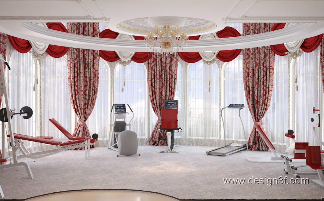 Gimnasios en casa de estilo  por студия Design3F, Asiático