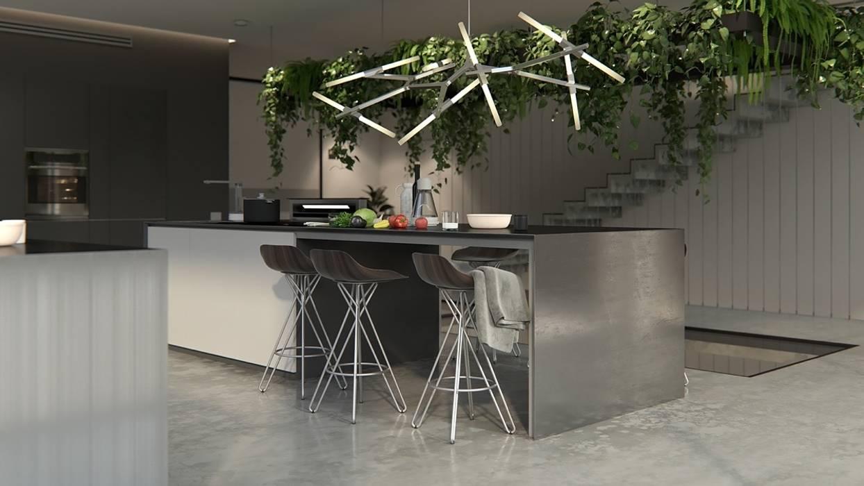 Hệ thống đèn chiếu sáng độc đáo tạo phong cách riêng cho nhà bếp bởi Công ty Thiết Kế Xây Dựng Song Phát Châu Á