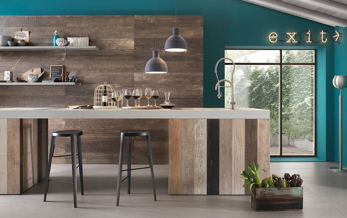 Đèn thả ngẫu hứng trong thiết kế nhà bếp Nhà bếp phong cách châu Á bởi Công ty Thiết Kế Xây Dựng Song Phát Châu Á