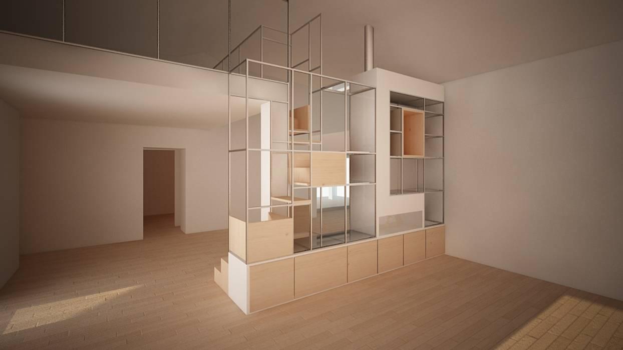 mobile camino scala: Soggiorno in stile  di Simone Fratta Architetto