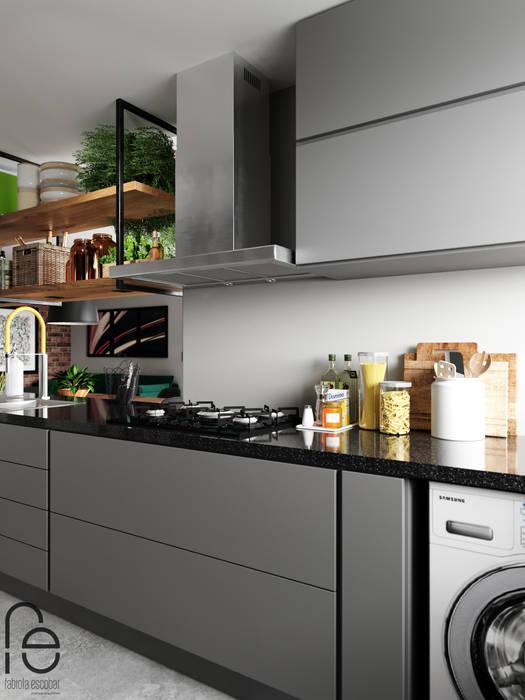 Cozinha integrada: Armários e bancadas de cozinha  por Fabíola Escobar - Pratique Arquitetura