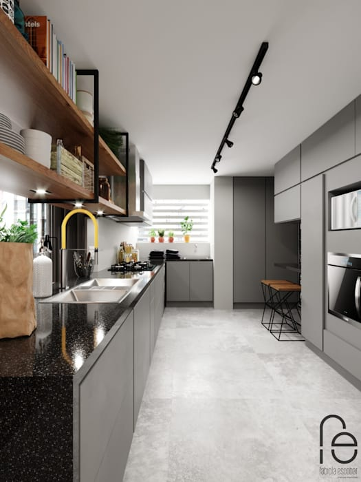 Cozinha integrada: Cozinhas embutidas  por Fabíola Escobar - Pratique Arquitetura