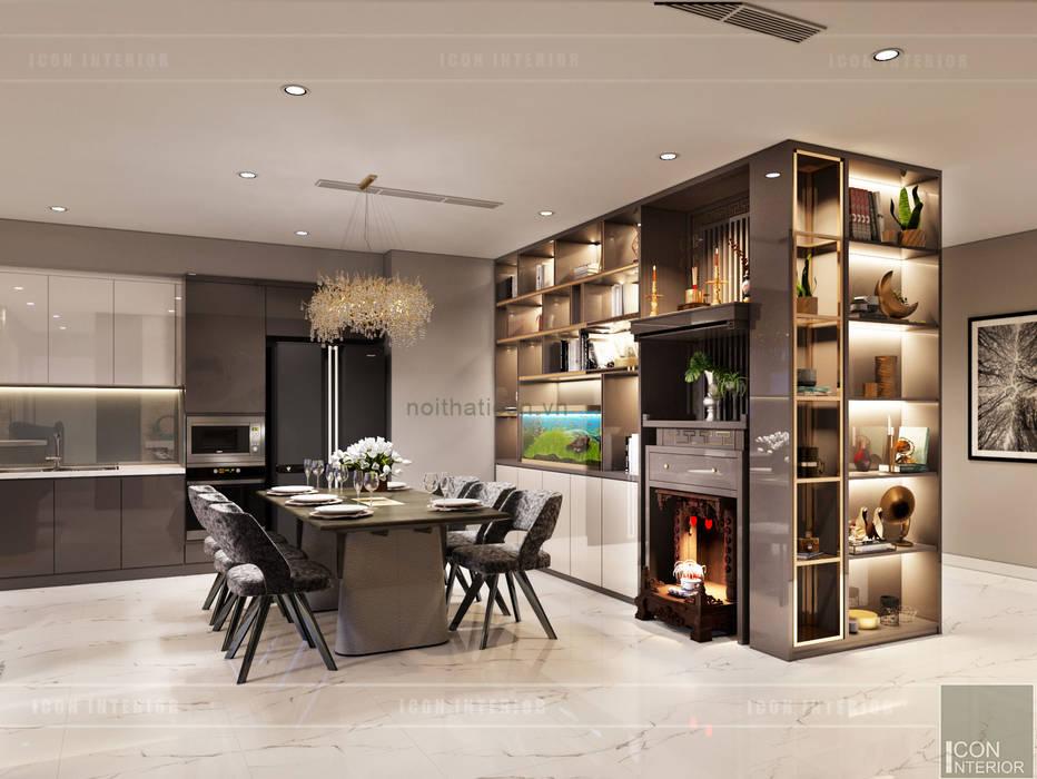 THIẾT KẾ NỘI THẤT CĂN HỘ: Kết hợp Neoclassic và Contemporary style ICON INTERIOR Phòng ăn phong cách hiện đại