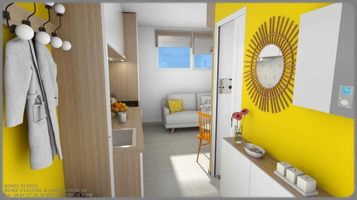 Escalier Val D Oise aménagements studios couloir, entrée, escaliers modernes par