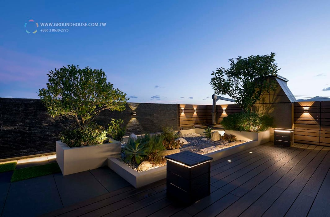 Terrazas de estilo  por 大地工房景觀公司, Minimalista