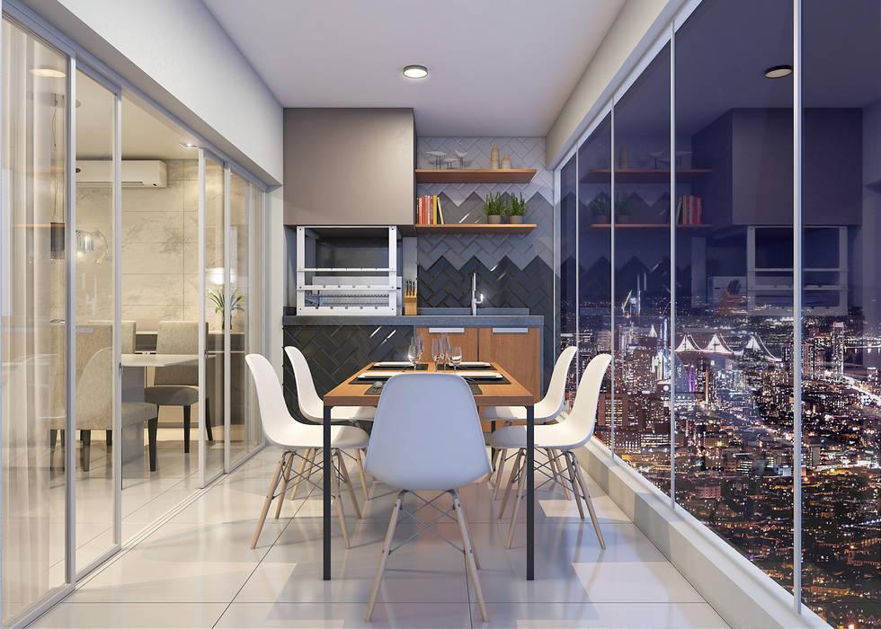 Estúdio j2G| Arquitetura & Engenharia Balcone, Veranda & Terrazza in stile moderno Ceramica Grigio