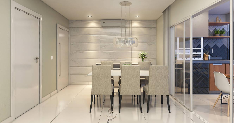 Estúdio j2G  Arquitetura & Engenharia Comedores minimalistas Cerámico Blanco