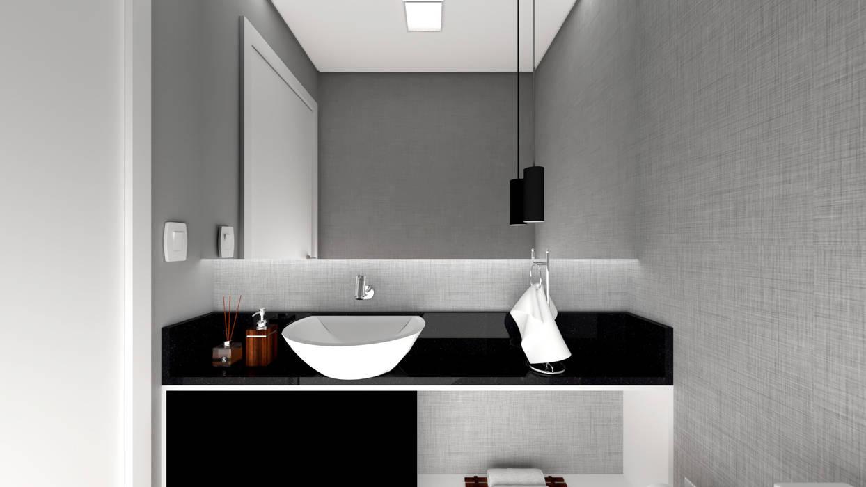 Estúdio j2G| Arquitetura & Engenharia Bagno minimalista PVC Grigio