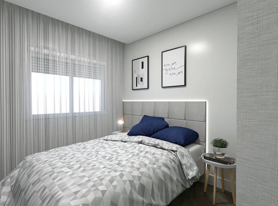 Estúdio j2G| Arquitetura & Engenharia Minimalist bedroom Wood-Plastic Composite Grey