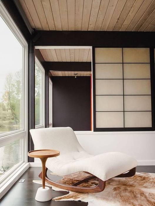Góc thư giản nhỏ với không gian mở Công ty Thiết Kế Xây Dựng Song Phát Phòng khách phong cách châu Á