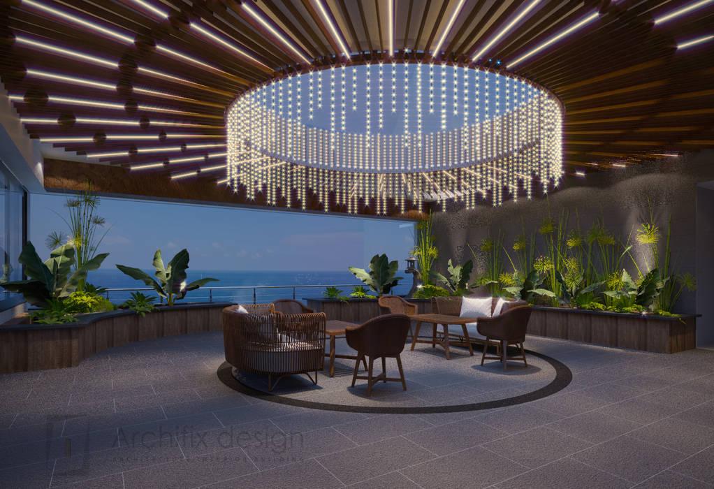 Long Beach center Penthouse - Phu Quoc Hiên, sân thượng phong cách hiện đại bởi Archifix Design Hiện đại