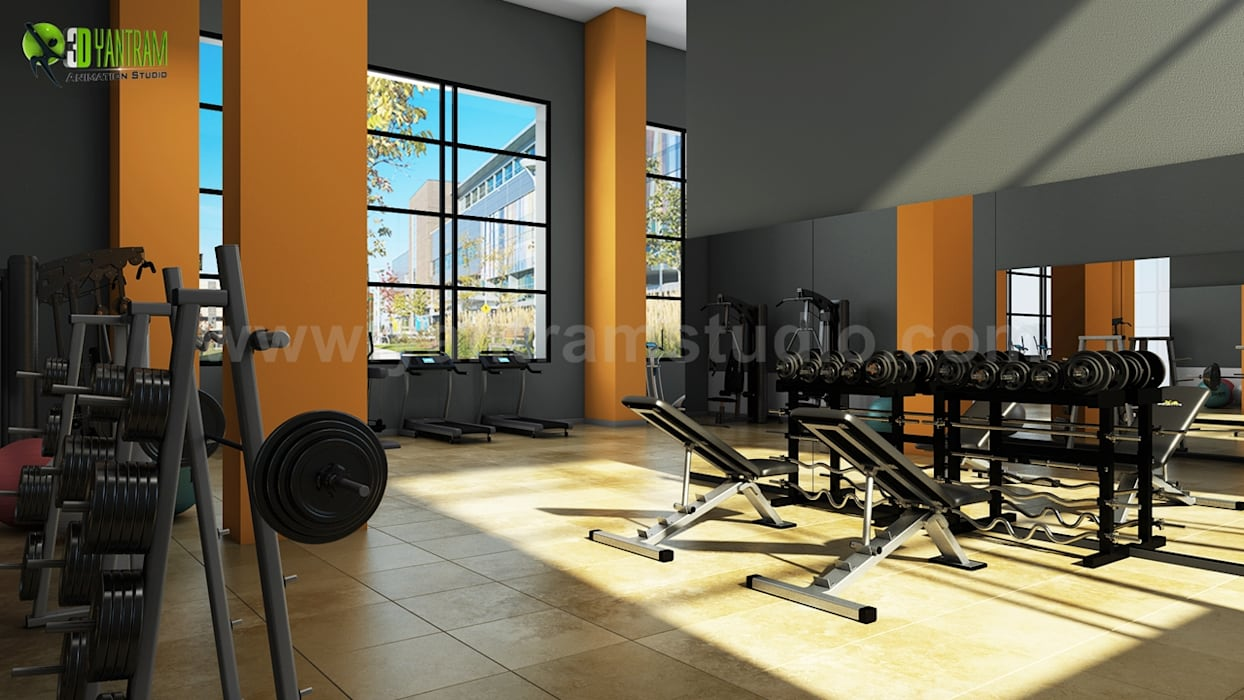 Modern Wall Paints Gym Design Ideas Classic style gym by Yantram Architectural Design Studio Classic Ceramic