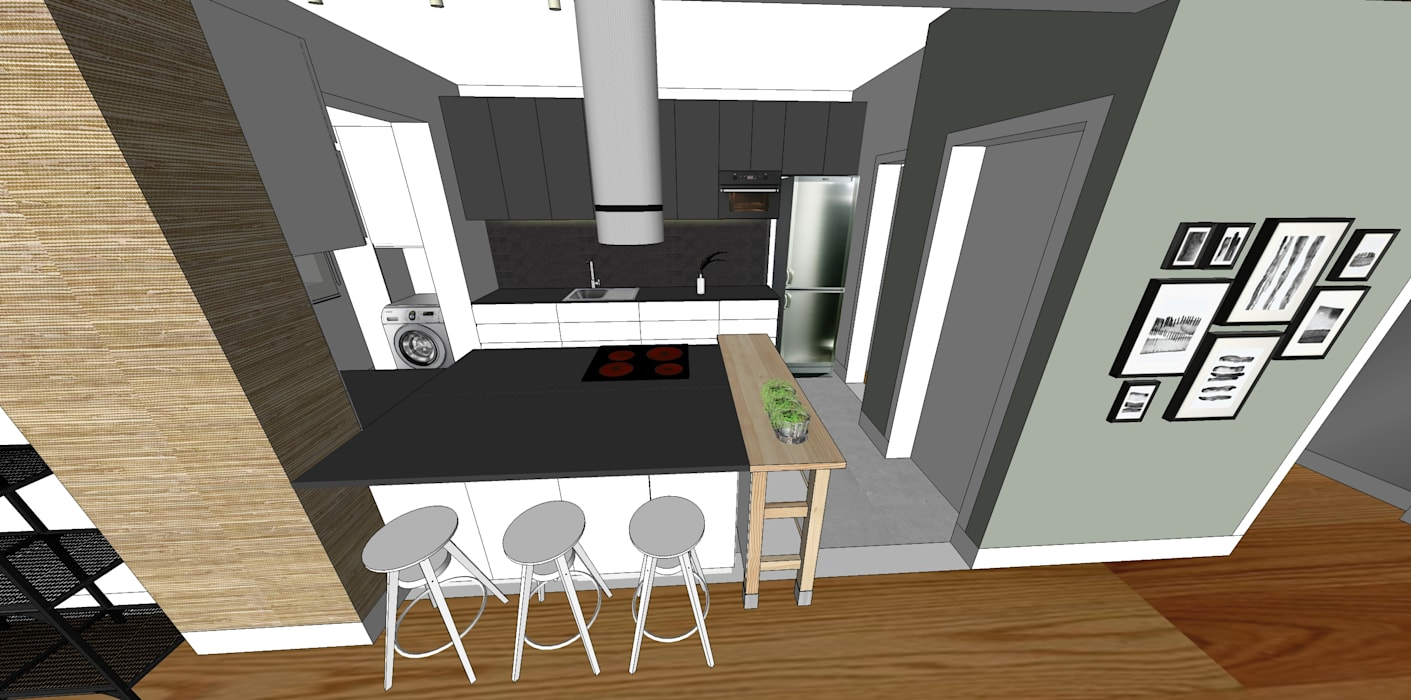 Vista da cozinha kitnet:   por Form Arquitetura e Design