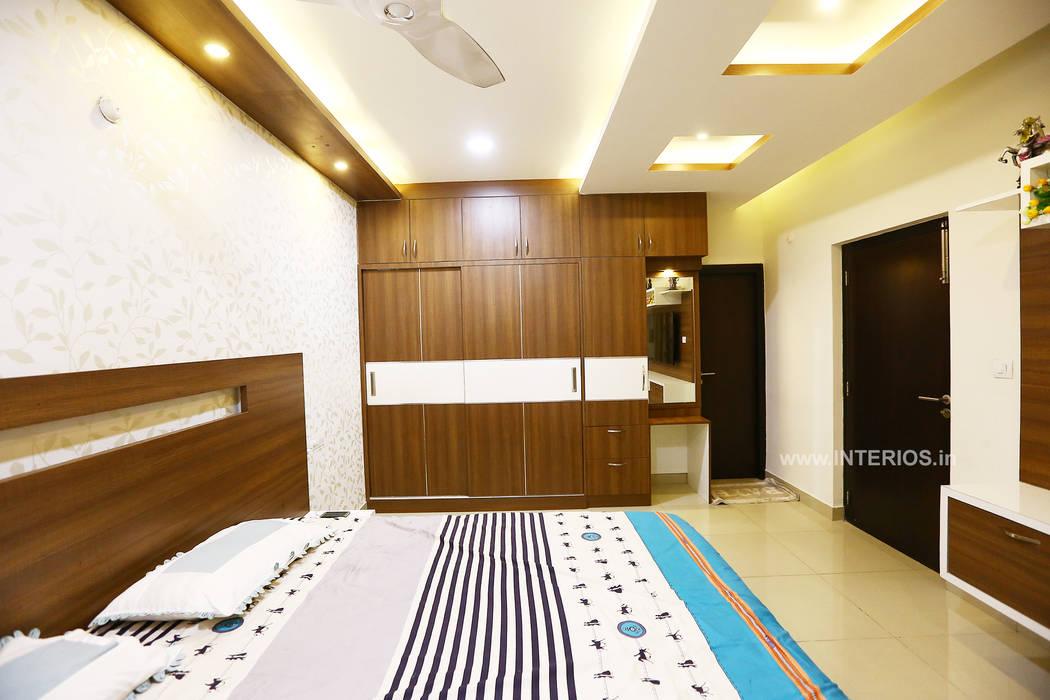Elegant 3BHK Interior Design at Prestige Bella Vista:  Bedroom by Interios by MK Design,Modern