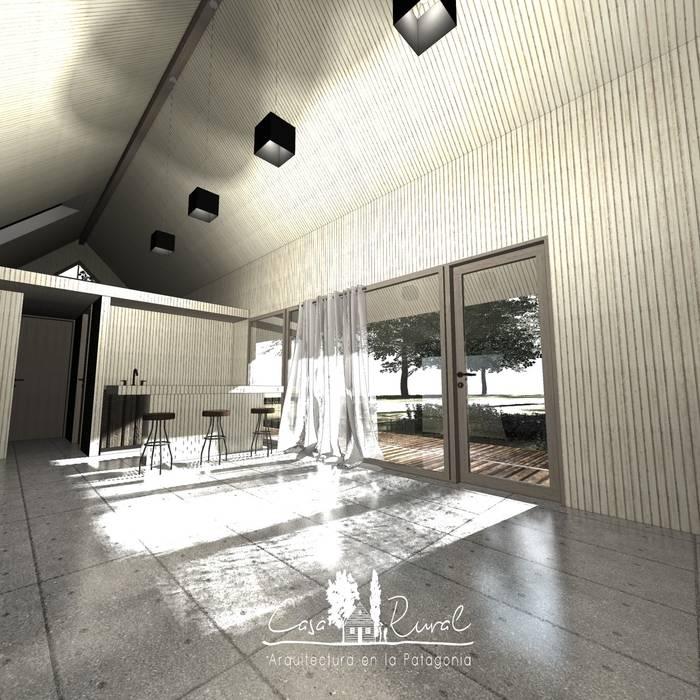 Living casa rural - Arquitectos en Coyhaique Livings de estilo