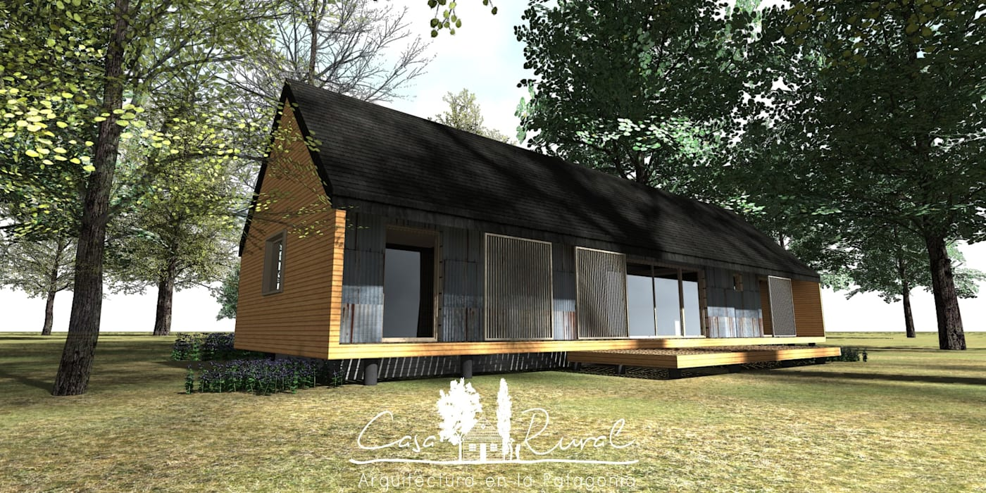 Fachada: Casas de campo de estilo  por casa rural - Arquitectos en Coyhaique, Rural