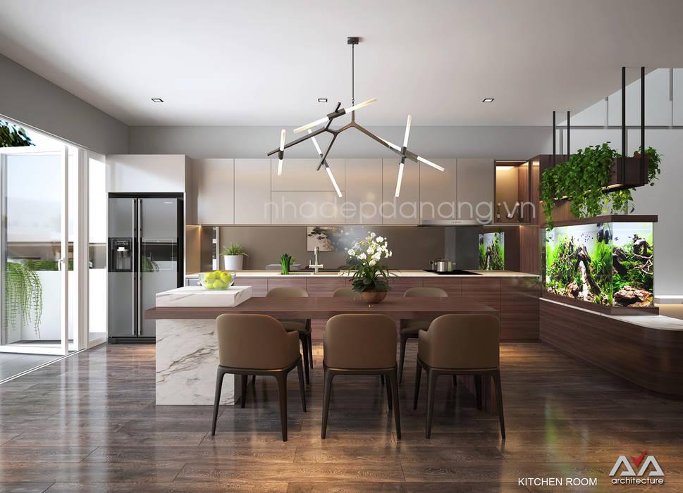Mặt tiền nhà phố đẹp Khu đô thị sinh thái Hòa xuân, TP. Đà Nẵng Nhà bếp phong cách hiện đại bởi AVA Architects Hiện đại