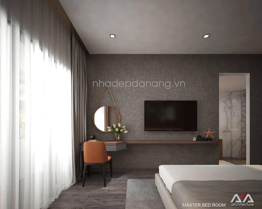 Mặt tiền nhà phố đẹp Khu đô thị sinh thái Hòa xuân, TP. Đà Nẵng Phòng ngủ phong cách hiện đại bởi AVA Architects Hiện đại