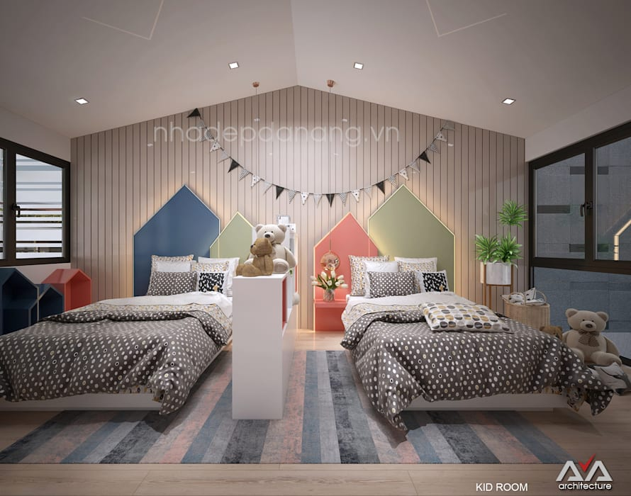 Mặt tiền nhà phố đẹp Khu đô thị sinh thái Hòa xuân, TP. Đà Nẵng:  Phòng trẻ em by AVA Architecture,