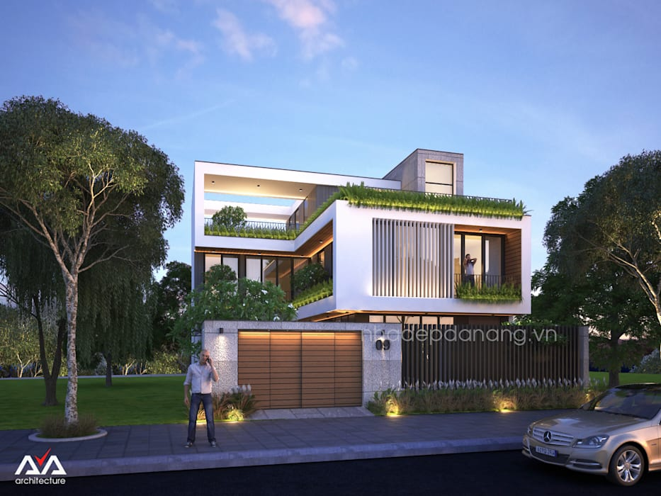 Thiết kế biệt thự hiện đại 3 tầng:  Nhà by AVA Architecture,
