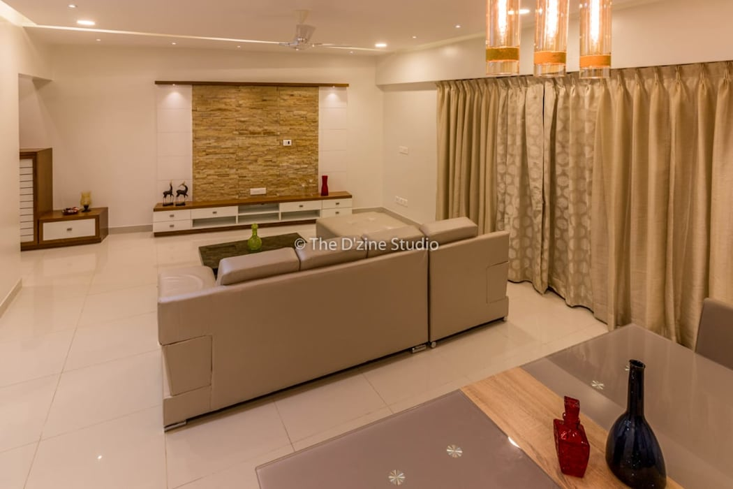 3 bhk complete home interiors in Blue Ridge Township ( Pune) The D'zine Studio Modern living room
