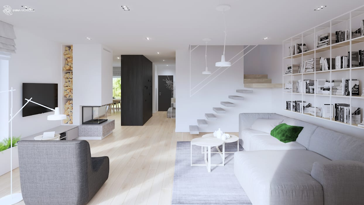 White and bright house interior. SARNA ARCHITECTS Interior Design Studio Schody