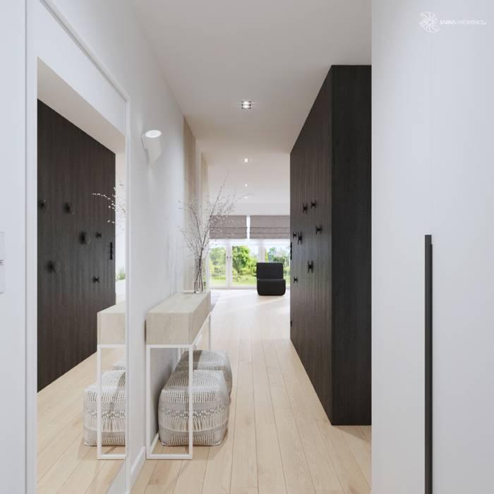 White and bright house interior. Minimalistyczny korytarz, przedpokój i schody od SARNA ARCHITECTS Interior Design Studio Minimalistyczny