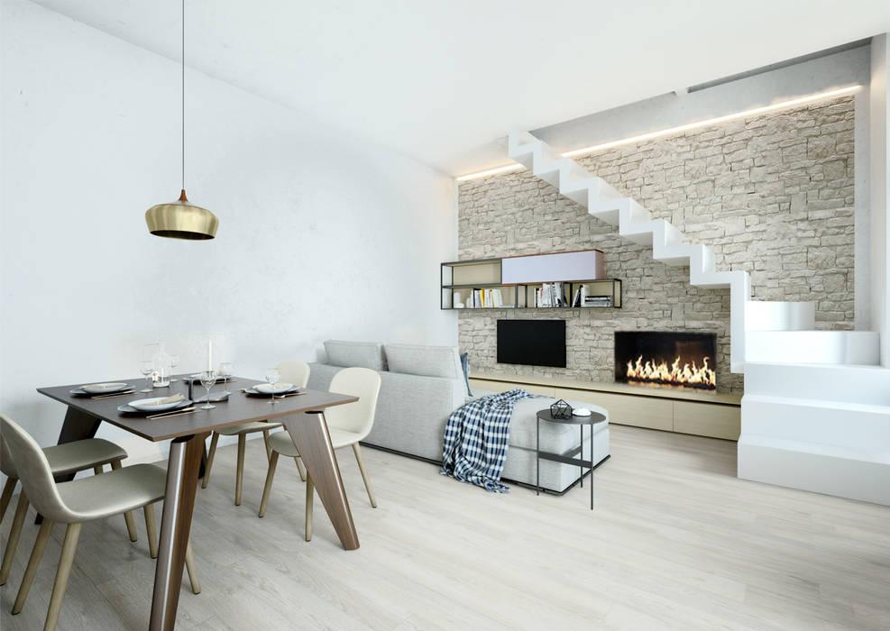 zona giorno con biokamino e scala a vista: Sala da pranzo in stile in stile Moderno di Silvana Barbato, StudioAtelier