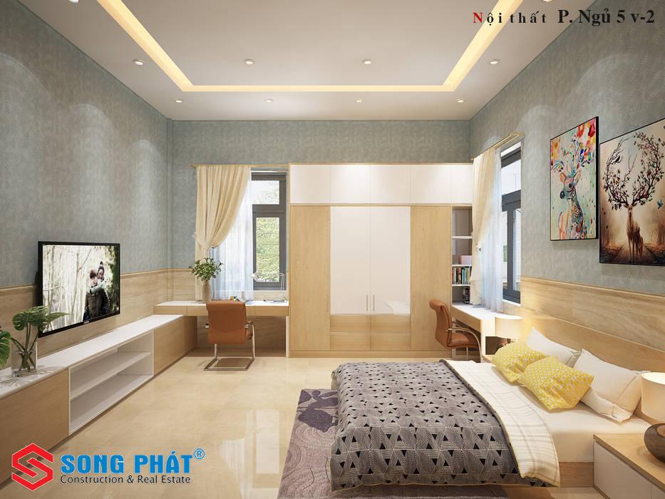 Choáng Ngợp Với Sự Lung Linh Của Thiết Kế Biệt Thự Phố Ở Long An:  Schlafzimmer von Công ty Thiết Kế Xây Dựng Song Phát