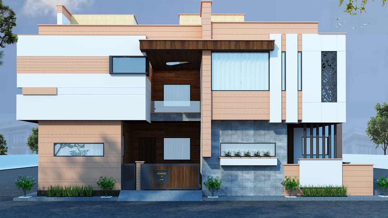 North Facing Modern Residence in Jodhpur RAVI - NUPUR ARCHITECTS White