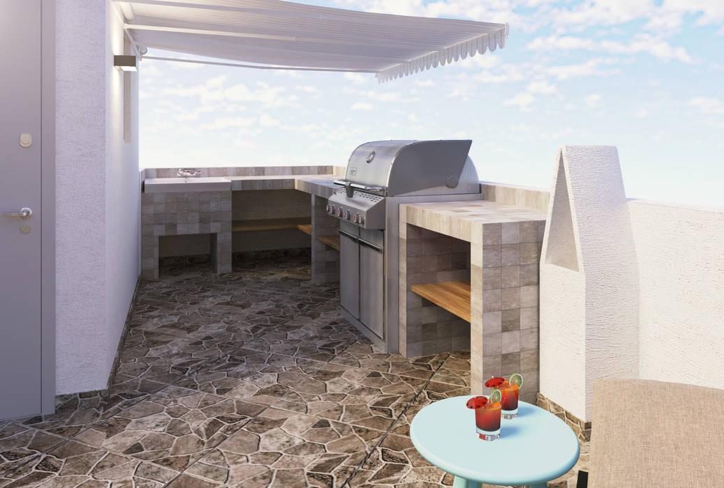 Zona De Barbacoa Balcones Y Terrazas De Estilo Moderno De
