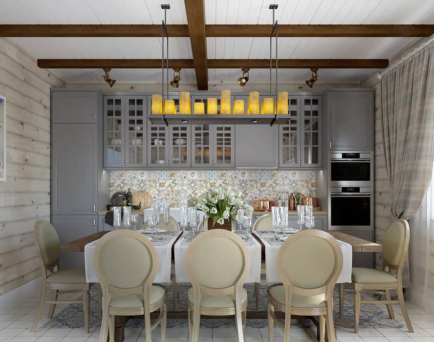Проект дома из клеенного бруса: Кухни в . Автор – Defacto studio, Кантри Дерево Эффект древесины