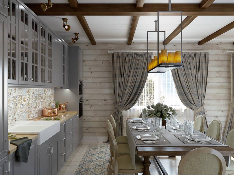 Проект дома из клеенного бруса Кухня в стиле кантри от Defacto studio Кантри Дерево Эффект древесины
