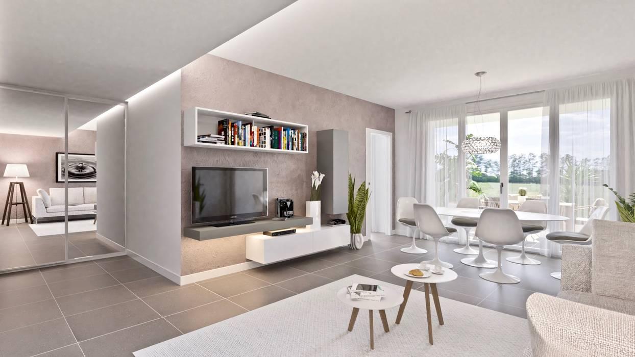 Living – versione con cucina separata: soggiorno in stile di ...