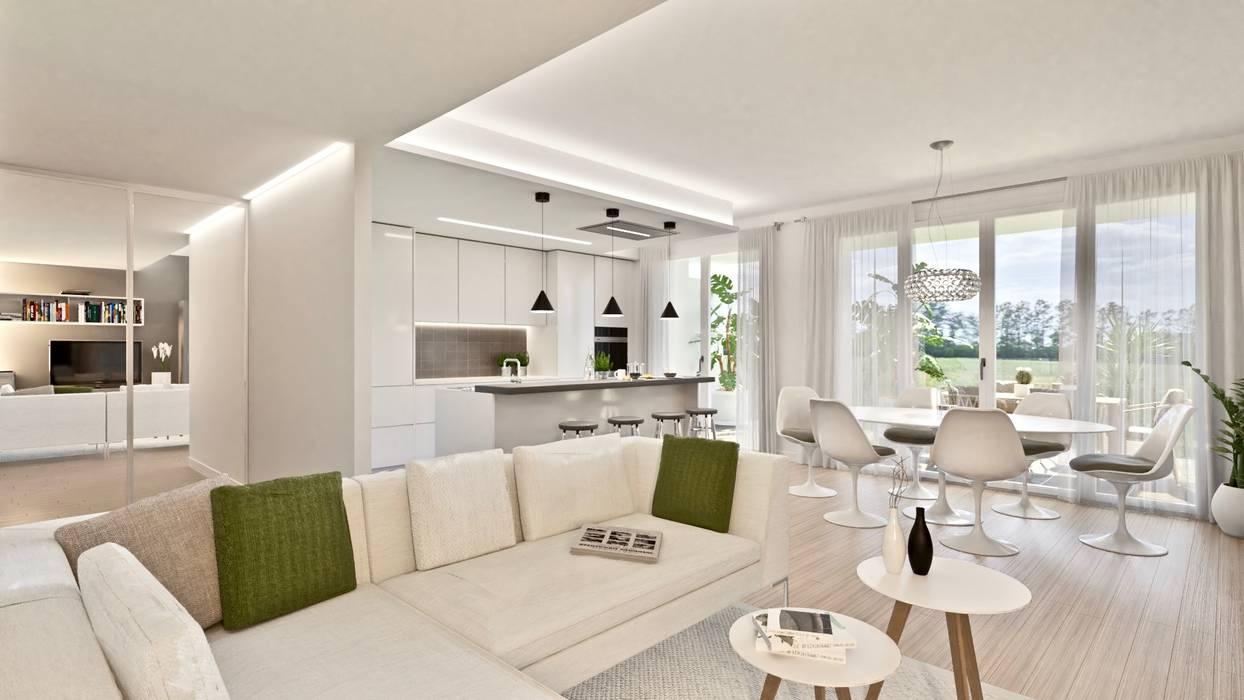 Living - Versione con cucina a giorno: Soggiorno in stile in stile Moderno di Gentile Architetto