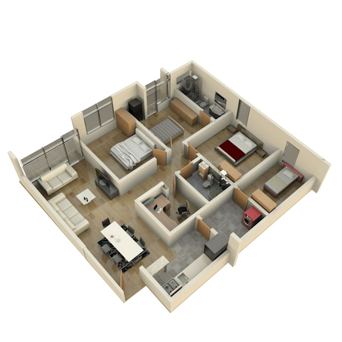 axonometria apartamento tipo : Casas multifamiliares de estilo  por jaguarq3destudio