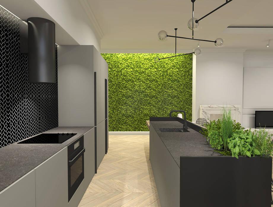 Apartament, Warszawa: styl , w kategorii Kuchnia na wymiar zaprojektowany przez IN studio projektowania wnętrz,