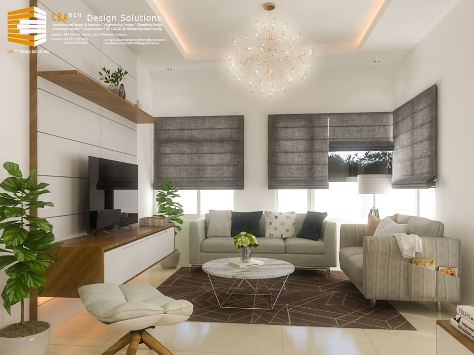 Living Area Interior Perspective by CB.Arch Design Solutions Asian