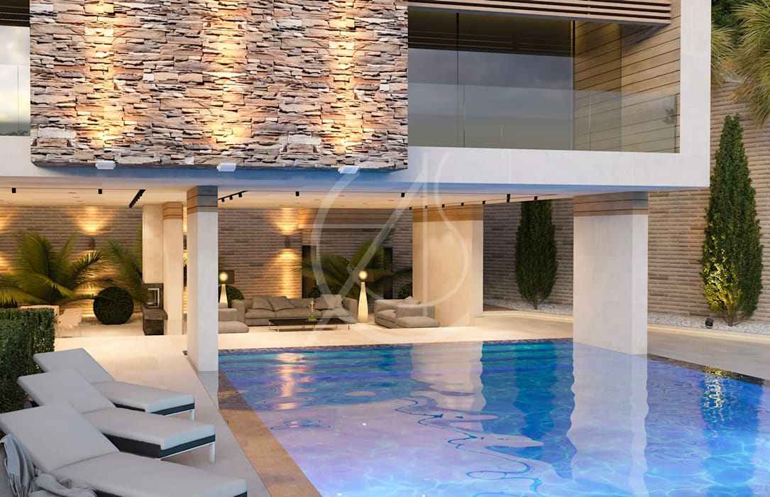 Amazing Modern Vacation House:  Pool by Comelite Architecture, Structure and Interior Design , Modern