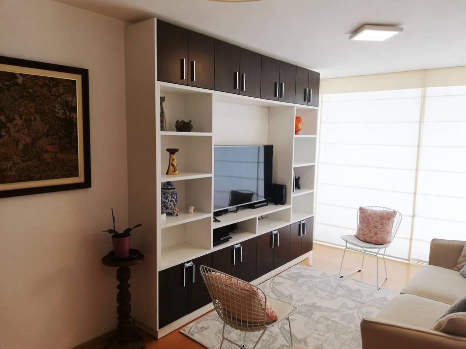 Departamento en colores pasteles: Salas / recibidores de estilo  por Mauriola Arquitectos