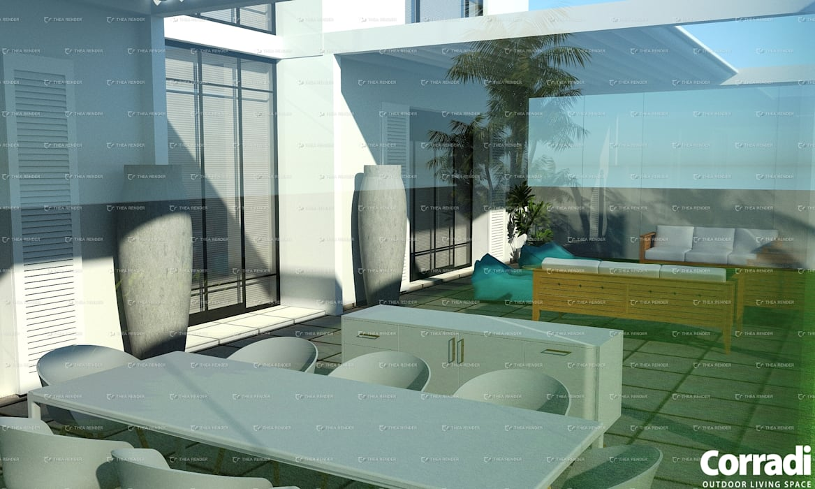 Pergotenda® Maestro  - with glass doors by Corradi Outdoor Living Space:  Patios by Corradi Outdoor Living Space