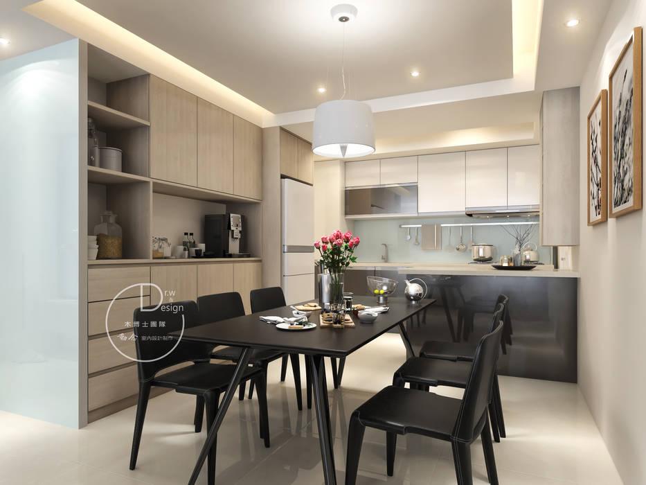 餐廳/沉靜淺灰元素 自然人文宅邸 - 惠宇清朗 根據 木博士團隊/動念室內設計制作 現代風 複合木地板 Transparent