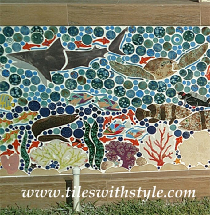 Close up picture of Great Barrier Reef mosaic Tiles with Style 露臺 陶器 Multicolored