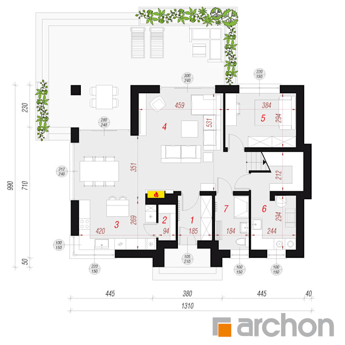Дома в стиле модерн от ARCHON+ PROJEKTY DOMÓW Модерн