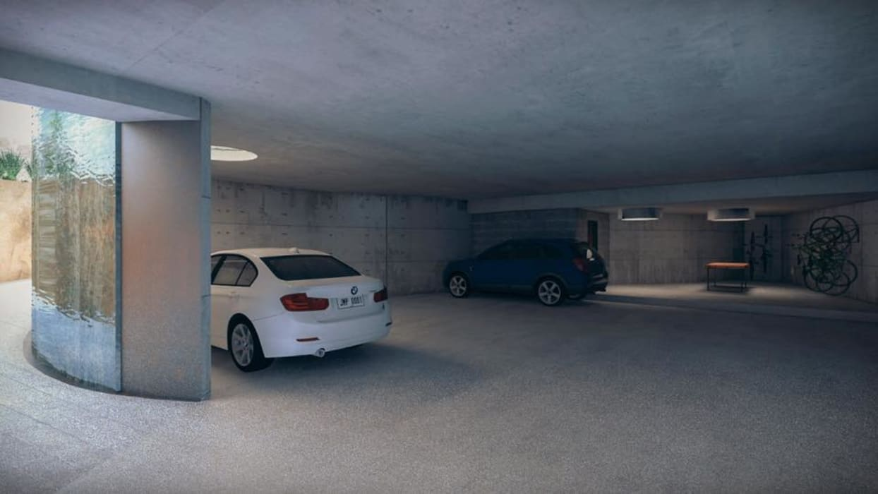 Casa Primavera: Garajes de estilo  por HDA: ARQUITECTURA BIOCLIMATICA