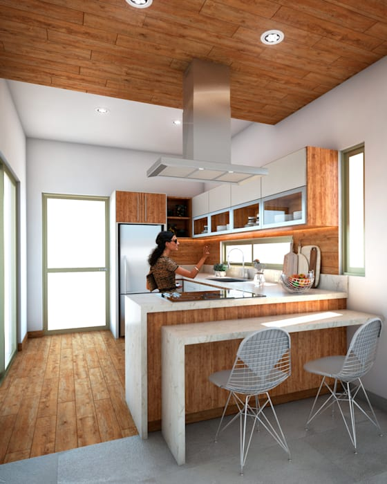 PERSPECTIVA INTERIOR DE COCINA: Muebles de cocinas de estilo  por AP Arquitectura,