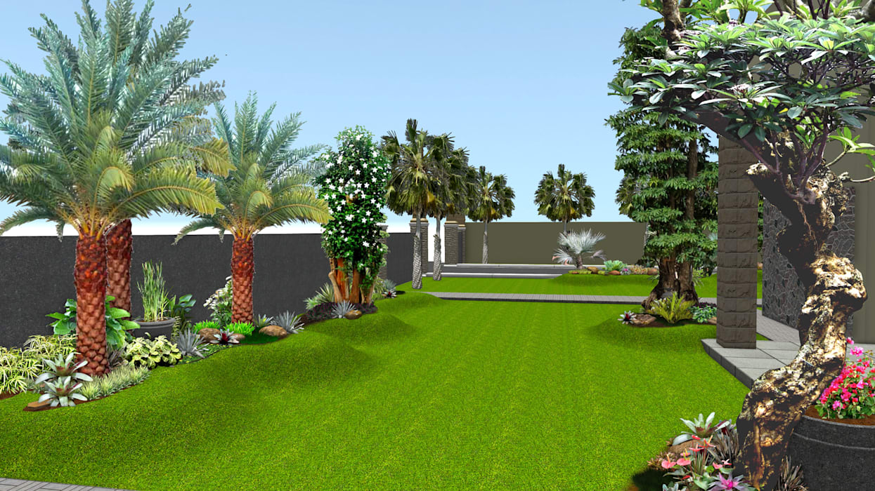 Desain 2 Taman rumah surabaya jawa timur:  Garden  by TUKANG TAMAN SURABAYA - jasataman.co.id