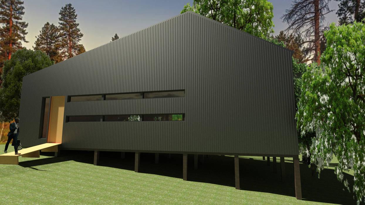 Diseño arquitectónico, modelacion 3D y renderizado de casa Quimera : Casas de madera de estilo  por ARCHIMINIMAL ESTUDIO